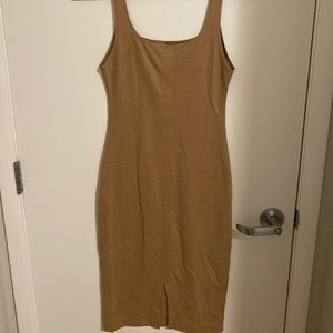 Zara camel midi bodycon tank dress
